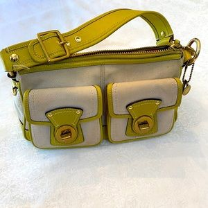Vintage Legacy Coach Bag Lime Green and Beige